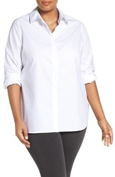Foxcroft Plus Size Women's 'Vanessa' No Iron Cotton Shirt White