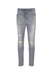 Studio Seven Distressed Drawstring Waist Jeans Grey