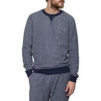Sunspel Navy White Loopback Sweater Blue