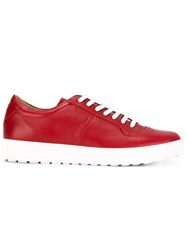Salvatore Ferragamo Two Tone Low Top Sneakers Red