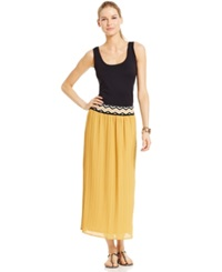 Ny Collection Pleated Crinkle Fabric Maxi Skirt Golden Spice