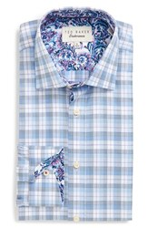 Ted Baker Men's Big And Tall London 'Larsing' Trim Fit Plaid Dress Shirt Blue