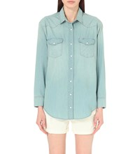 Allsaints Gemma Denim Shirt Indigo Blue