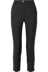 Balmain Pierre Chain Embellished Stretch Twill Slim Leg Pants Black