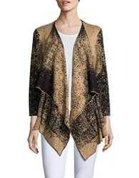 Nipon Boutique Textured Knit Flyway Cardigan Black Camel