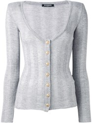 Balmain Striped Cardigan Grey