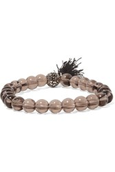 Kenneth Jay Lane Silver Tone Beaded Bracelet Charcoal