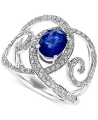 Effy Collection Royale Bleu By Effy Diffused Sapphire 1 3 8 Ct. T.W. And Diamond 1 2 Ct. T.W. Ring In 14K White Gold