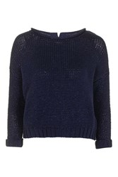 Topshop Tube Knit Slouchy Jumper Navy Blue