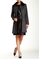 Hugo Boss Ciera Genuine Lamb Fur Collar Wool Coat Gray