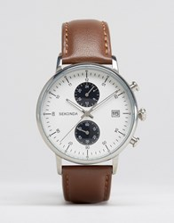 Sekonda Chronograph Leather Watch In Brown Brown