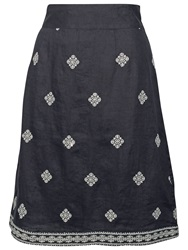 Fat Face Claire Linen Embroidered Skirt Phantom