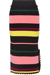 Apiece Apart Las Palmas Striped Stretch Knit Midi Skirt Pink