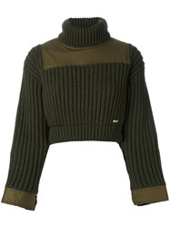 Dsquared2 Cropped Rib Effect Jumper Green