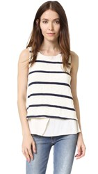 Splendid Loose Knit Layered Tank Blue Shadow