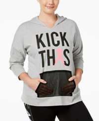 Material Girl Plus Size Pink Ribbon Hoodie Only At Macy's Heather Platinum