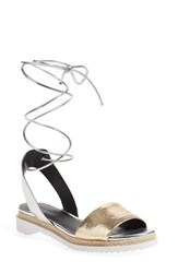 Rebecca Minkoff Women's 'Lindy' Lace Up Sandal Silver Light Gold Leather