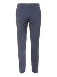 Topman Blended Blue Skinny Fit Suit Trousers