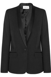 Pallas Satin Trimmed Wool Crepe Blazer Black