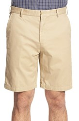 Men's Big And Tall Peter Millar 'Winston' Washed Twill Flat Front Shorts Khaki