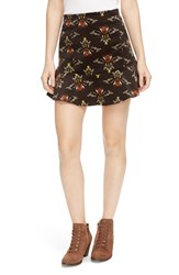 Free People Women's 'Roll With Us' Corduroy Miniskirt Black Combo