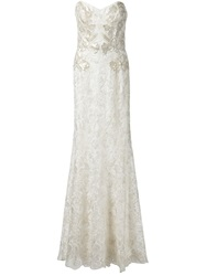 Marchesa Notte Strapless Lace Bridal Gown White