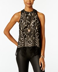 Almost Famous Juniors' Scalloped Lace Tank Top Black Taupe