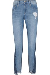 Steve J And Yoni P Distressed Mid Rise Straight Leg Jeans Mid Denim