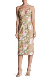 Dress The Population Women's 'Mariah' Embroidered Sheath Nude Floral