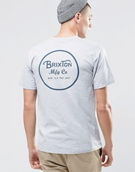 Brixton T Shirt With Back Logo Grey