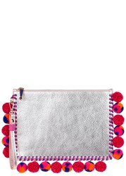 Sophia Webster Flossy Silver Pompom Leather Clutch