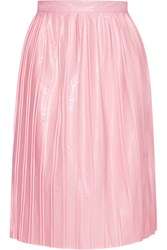 Suno Pleated Faux Leather Skirt Pink