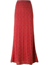 M Missoni Knitted Maxi Skirt Red