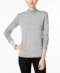 Charter Club Mock Turtleneck Sweater Only At Macy's Heather Platinum