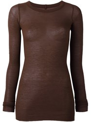 Rick Owens Ribbed T Shirt Brown