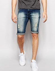 Loyalty And Faith Spray On Denim Short Distressing Tint Wash Jean Blue