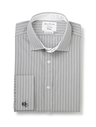 Stripe Fully Fitted Long Sleeve Shirt Grey