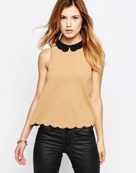 Daisy Street Top With Scalloped Hem And Collar Beige