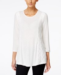 Styleandco. Style And Co. Contrast Lace Trim Top Only At Macy's Winter White