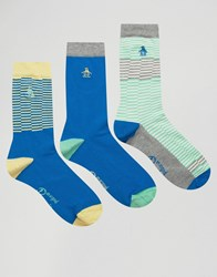 Original Penguin 3 Pack Socks Blue
