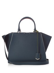 Fendi 3Jours Small Contrast Trim Leather Tote Blue