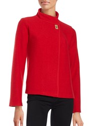 Calvin Klein Asymmetrical Wool Blend Cardigan Rouge