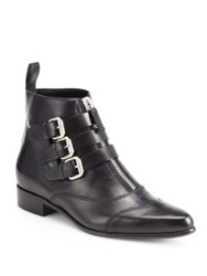 Tabitha Simmons Early Leather Motorcycle Ankle Boots Black
