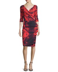 La Petite Robe Di Chiara Boni 3 4 Sleeve Floral Tie Dye Cocktail Dress Winter Blossom Red Winter Blossom Rd
