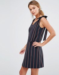 Oasis Stripe Bow Shoulder Dress Multi Navy