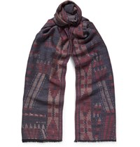 Etro Patterned Wool And Silk Blend Scarf Navy