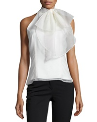 Milly Gwyneth Silk Organza Halter Top Ivory