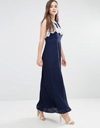 Darling Melissa Maxi Dress With Pleated Skirt And Crochet Top Navy