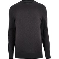 River Island Mens Black Side Zip Sweatshirt