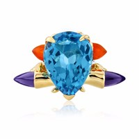 Maiko Nagayama Blue Topaz Cocktail Ring With Carnelian Bullet Blue Gold Yellow